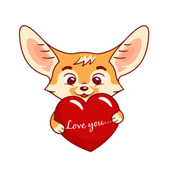 Enamoured fennec fox holds big cartoon heart with vector