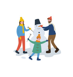 Family winter activity father mother and kid vector