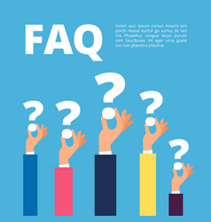 faq concept businessman hands holding question vector image