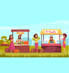 farm market cartoon vector image