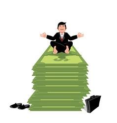 Financial yoga Business meditation Businessman vector
