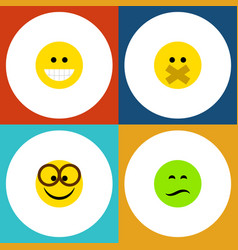 Flat icon expression set of hush pleasant frown vector