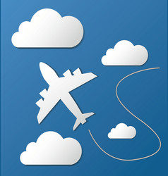 Flying plane in clouds vector