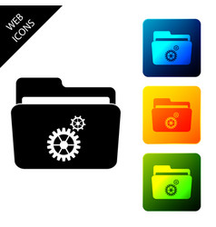 folder settings with gears icon isolated concept vector image