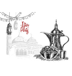 Food party with lantern ribbon mosque isolated vector