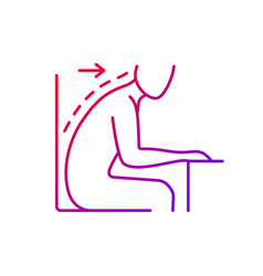 Forward tilted sitting position gradient linear vector