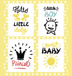 four children s logo with handwriting hello vector image