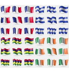 France honduras mauritius ireland set of 36 flags vector