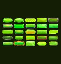 Funny cartoon green long horizontal buttons vector