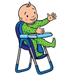 Funny smiling baby in the highchair vector