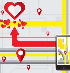 Gps navigate find to love heart vector