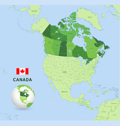 Green canada administrative map vector