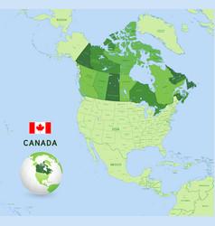 green canada administrative map vector image