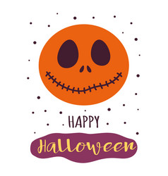 halloween card with funny pumpkin isolated on vector image
