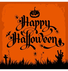 halloween night background with pumpkin and vector image