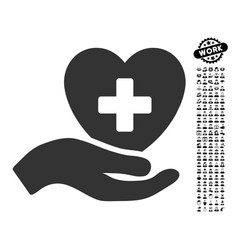 hand offer cardiology icon with people bonus vector image