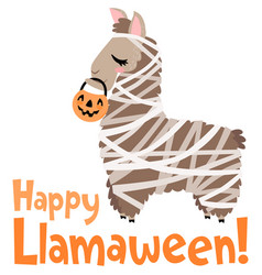 Happy llamaween llama mummy costume vector