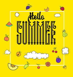 hello summer hipster vintage stylized lettering vector image