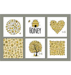 honey set - frame tree heart sketch for your vector image