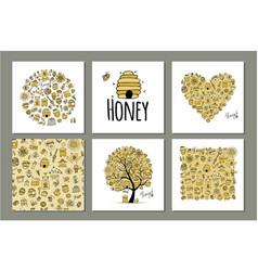 Honey set - frame tree heart sketch for your vector