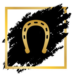 horseshoe sign golden icon vector image
