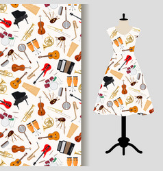 Jazz musical instruments dress fabric pattern vector