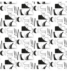 Kitchen chef restaurant seamless pattern vector