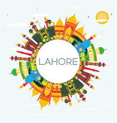 Lahore skyline with color landmarks blue sky and vector