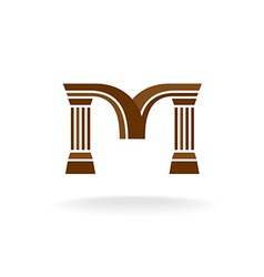 Letter M logo with columns Architecture business vector