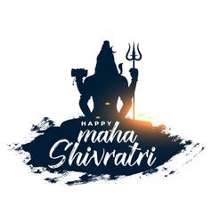 Maha shivratri festival greeting with lord shiva vector