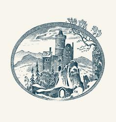 medieval castle historical antique chateau vector image