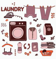 memphis laundry decoration cute hand-drawn doodle vector image