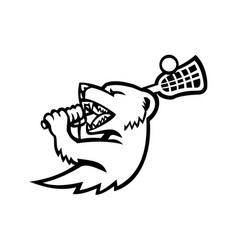 Mongoose with lacrosse stock mascot black and vector