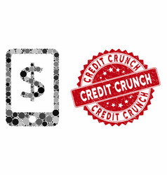 Mosaic mobile payment with textured credit crunch vector