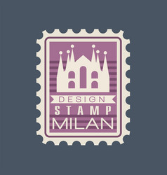 Original rectangular postmark with milan cathedral vector