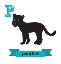 Panther P letter Cute children animal alphabet in vector image