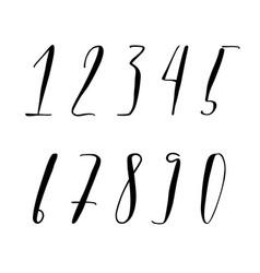 Pen lettering numbers vector
