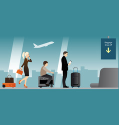 People with baggage in airport terminal vector