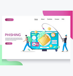 phishing website landing page design vector image
