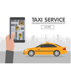 phone with interface taxi on screen on background vector image
