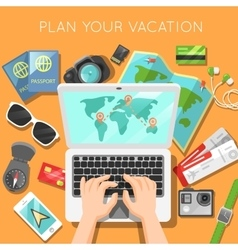 Planning of Vacation with Laptop vector image