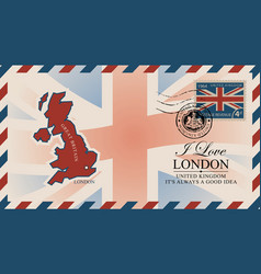 postcard with map great britain and uk flag vector image