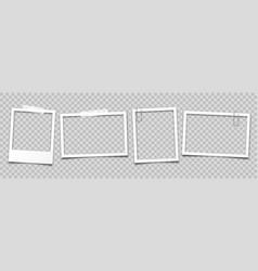realistic empty photo card frame film set retro vector image