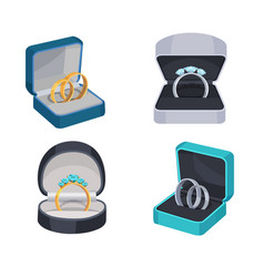 Rings with diamonds in opened box icons set vector