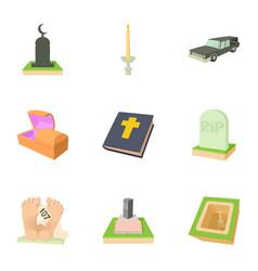 Ritual service icons set cartoon style vector
