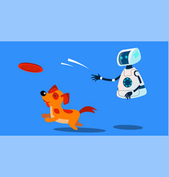 Robot dogwalker playing with a dog vector