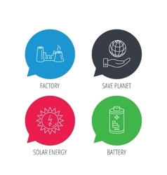 Save planet factory and battery icons vector