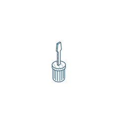 screwdriver isometric icon 3d line art technical vector image