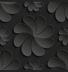 seamless pattern black 3d paper flower circle vector image
