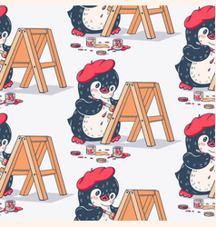 Seamless pattern with cute penguin artist vector